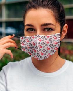 Máscara Padrão Coração - Tecido Lavável