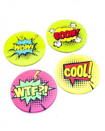 Conjunto Porta Copos em Vidro - Comics Bubbles