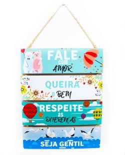 Placa Decorativa de MDF Frases - Fale de Amor