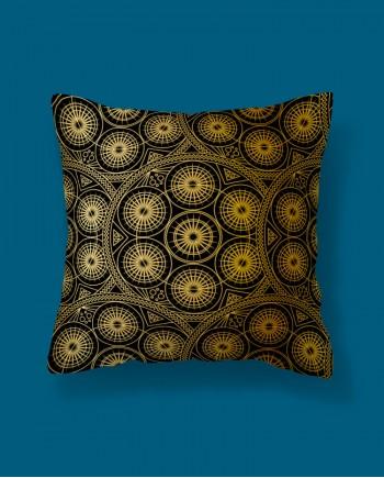 Almofada Quadrada Mandala Ouro