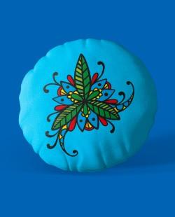 Almofada Azul Redonda Flor