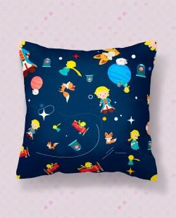 Almofada Quadrada Padrão Espacial Pequeno Príncipe
