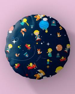 Almofada Redonda Padrão Espacial Pequeno Príncipe